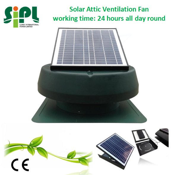 14 inch Free Energy Generator with DC Motor Solar Roof Exhaust Fan