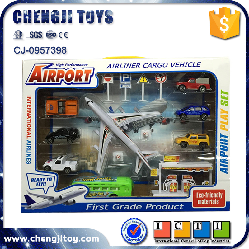 Airliner cargo vehicle pull back plane for kids toy airport set