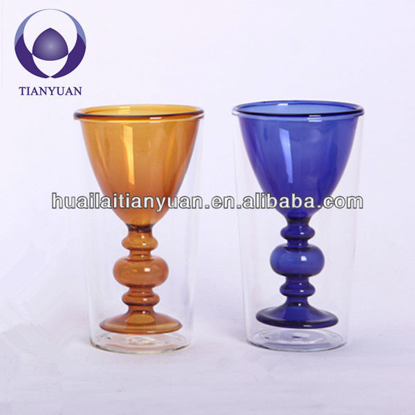 heat resistant hand made colored double wall fancy beer glass cup juice cup