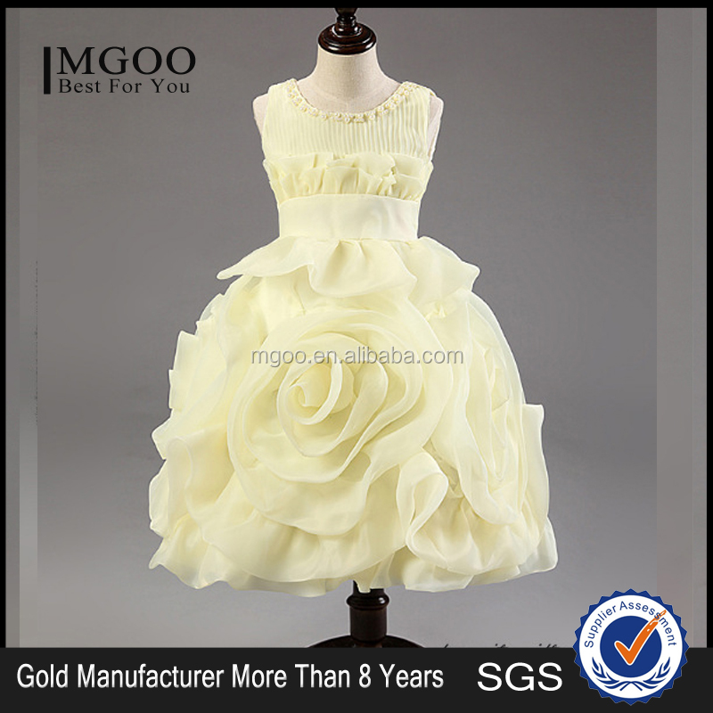 MGOO Manufacturer OEM Custom Baby Girl Christmas Party Apparel for Kids White Wedding Dresses Bow XJL25158
