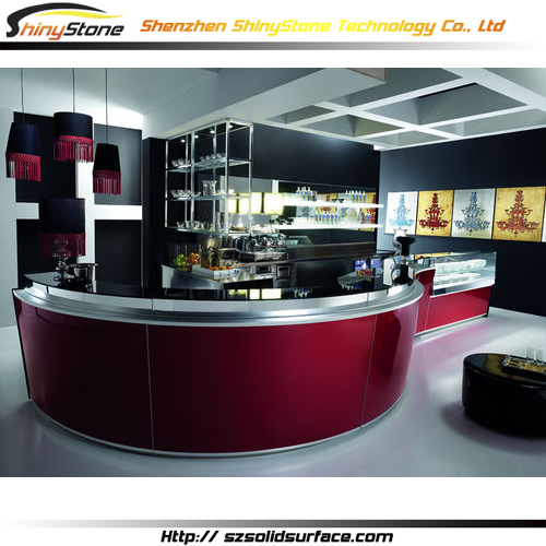 Mellow and full shaped solid surface/artificial marble comptoir bar lounge
