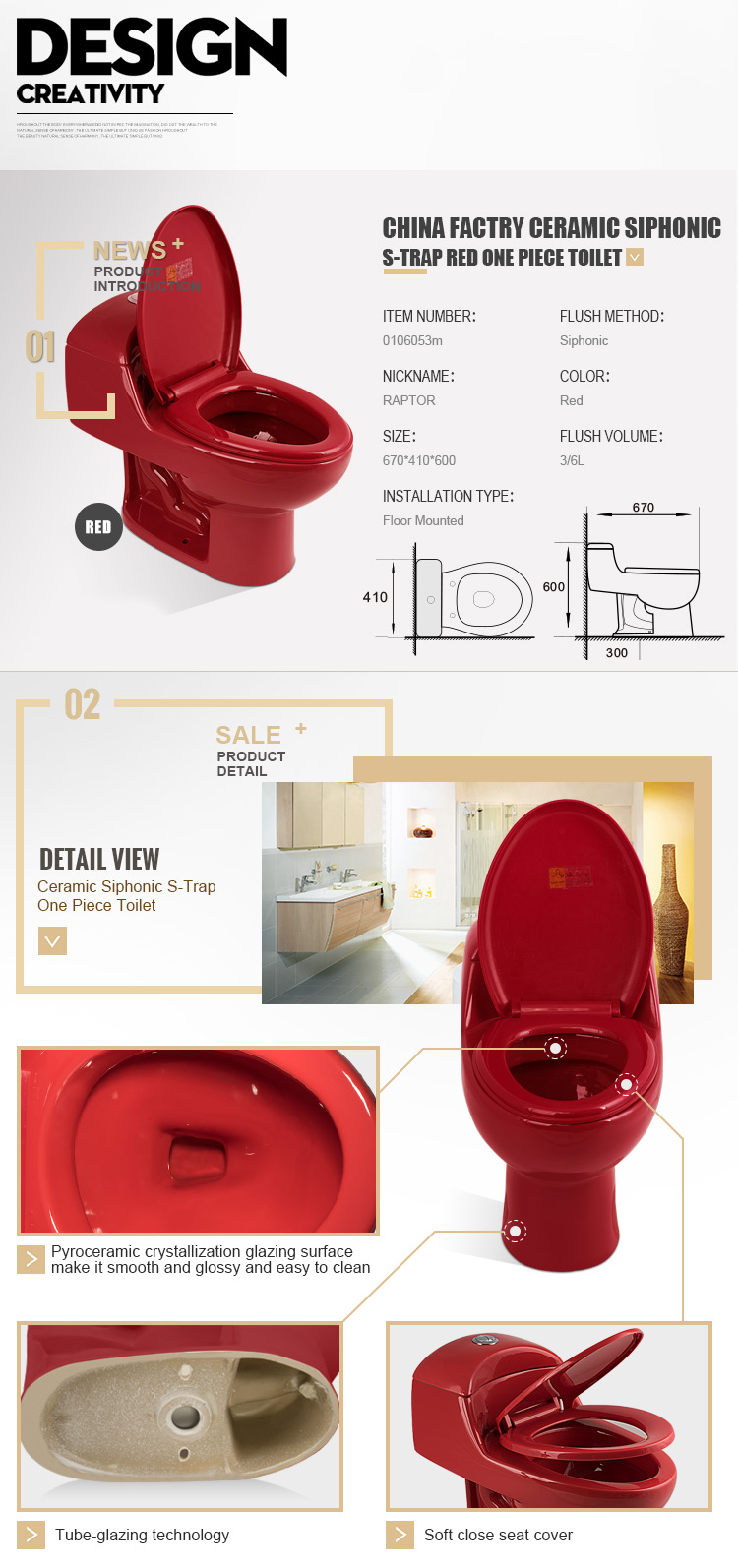 Hot Selling Ceramic Bathroom Sanitary One Piece WC Toilet With Seat Cover