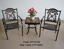 patio& lawn furniture metal cast aluminum small square ceramic side table and 2 chairs stackable