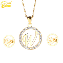 w Letter Shaped Stainless Steel New Model Jewelry Set For Women