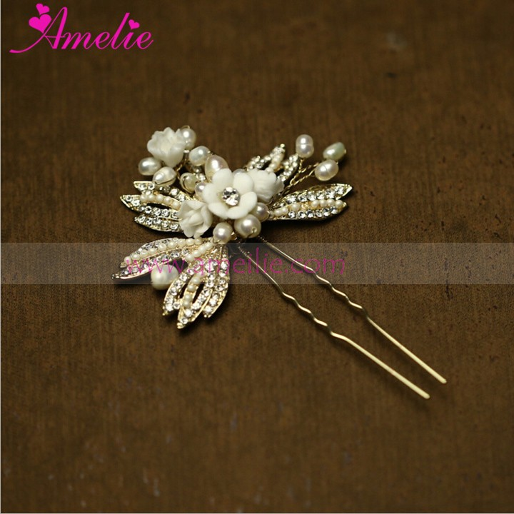 Resin Flower and Rhinestone Bridal Wedding Hair Combs and Hair Pins Set
