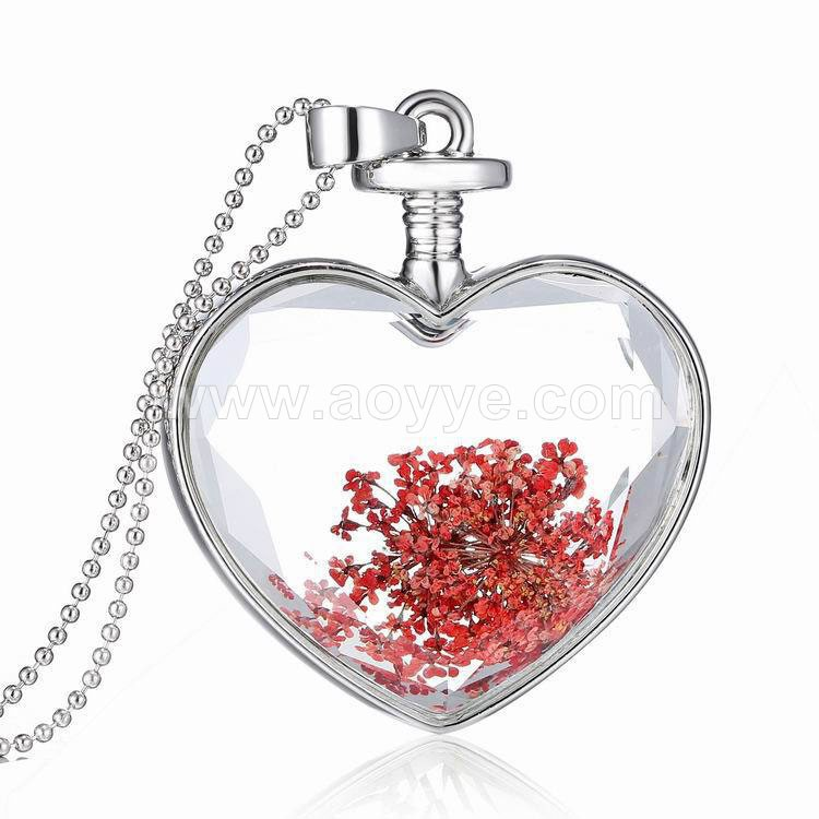 Hand made glass bottle jewelry silver frame red rose romantic elegant pressed flower necklace