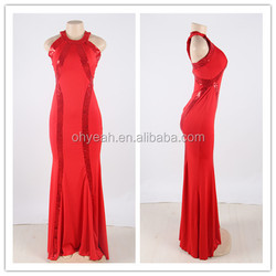 2016 New arrival alibaba assurance red princess style evening dress