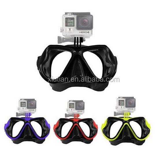HOT SALE Sports Accessories Tempered Glasses Dive Scuba Face Mask Camera Mount Swimming Diving Mask for GoPro Hero 5 4 3+ 3