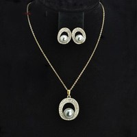 RDW Most fashional peal jewelry set/pearl neckalce with stud earrings jewelry set with gold plated