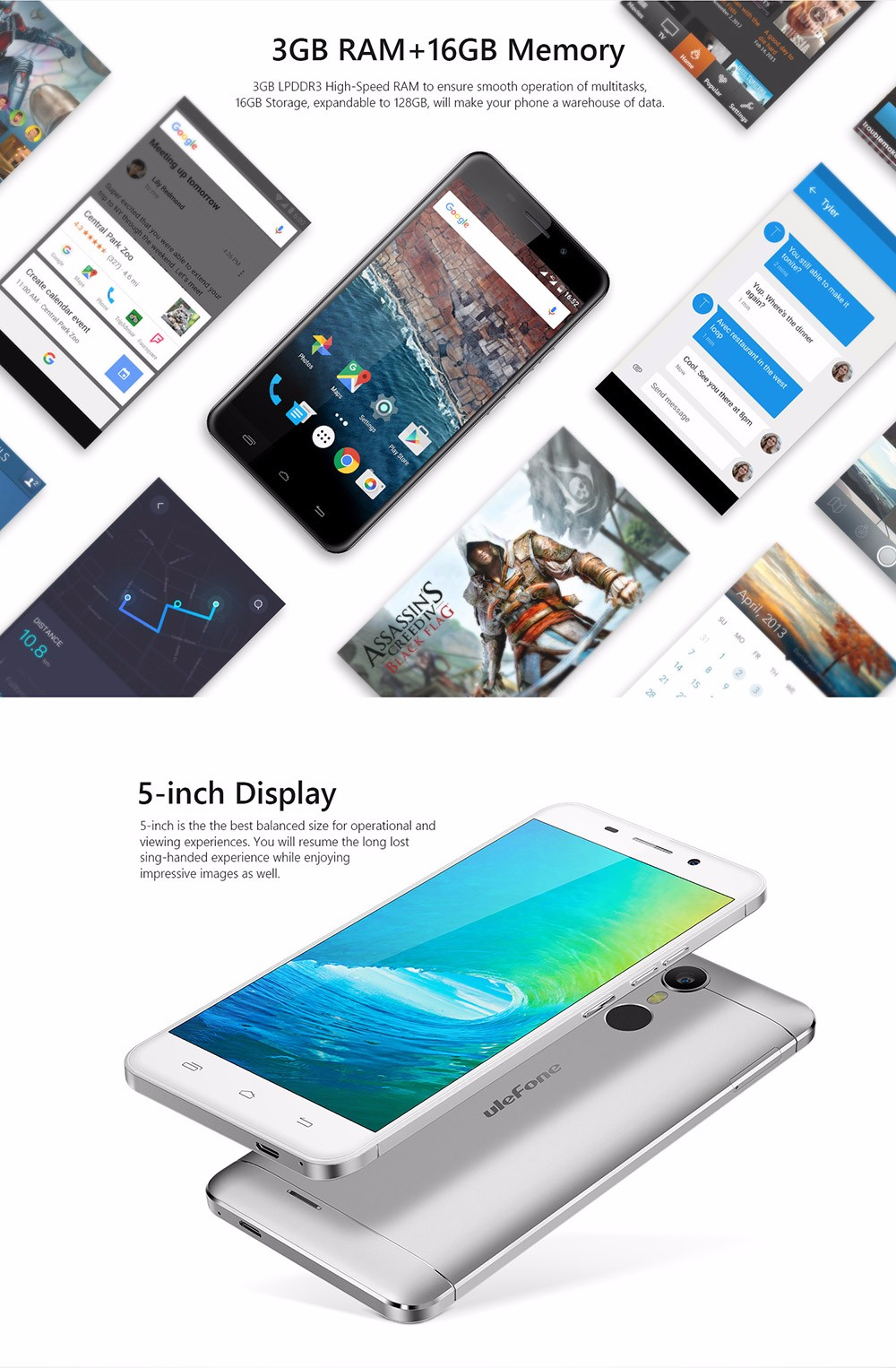 Original Ulefone Metal Fingerprint ID Cellphone MTK6753 Octa core 5.0 inch Smartphone 3GB RAM 16GB ROM Android 6.0 Mobile Phone