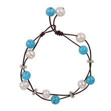 Turquoise beaded pearl bangles bead handmade custom Leather bracelet