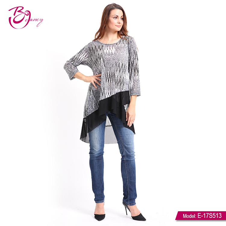 Latest Design Elegant Ladies Casual Tops Long Tail MeshBlouse