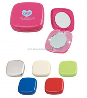 Plastic round pocket makeup mirror with led light
