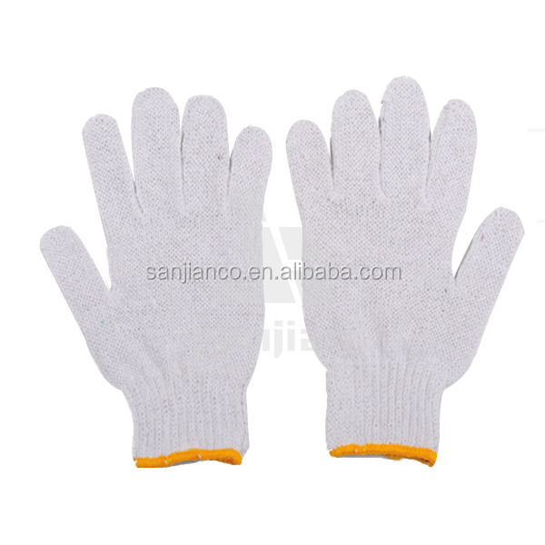 hot selling 7 gauge 10 gauge 13 gauge white cotton masonic gloves knitted hand gloves big hand glove 70g/pair