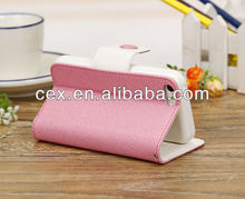Hot Cute Wallet Flip Stand TPU+PU Leather Case for iPhone 5C-Candy Pink&White