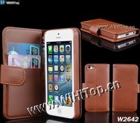 Wholesale Price,Luxury Look PU Leather Stand Wallet Case for New iPhone 5 with ID Credit Card Holder