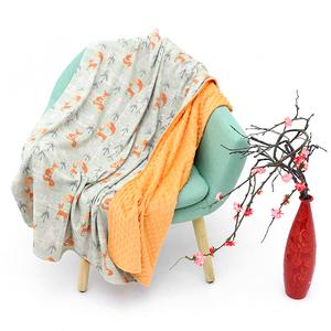 Custom print design portable lightweight baby cotton jersey blanket