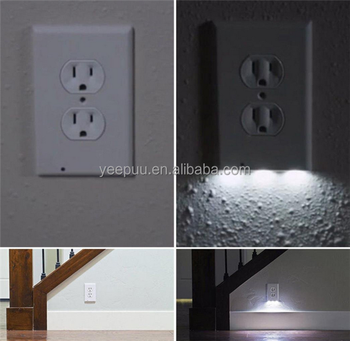 Night Angel Light Sensor LED Plug Cover Snap On Wall Outlet Coverplate Emergency Safety Lamp