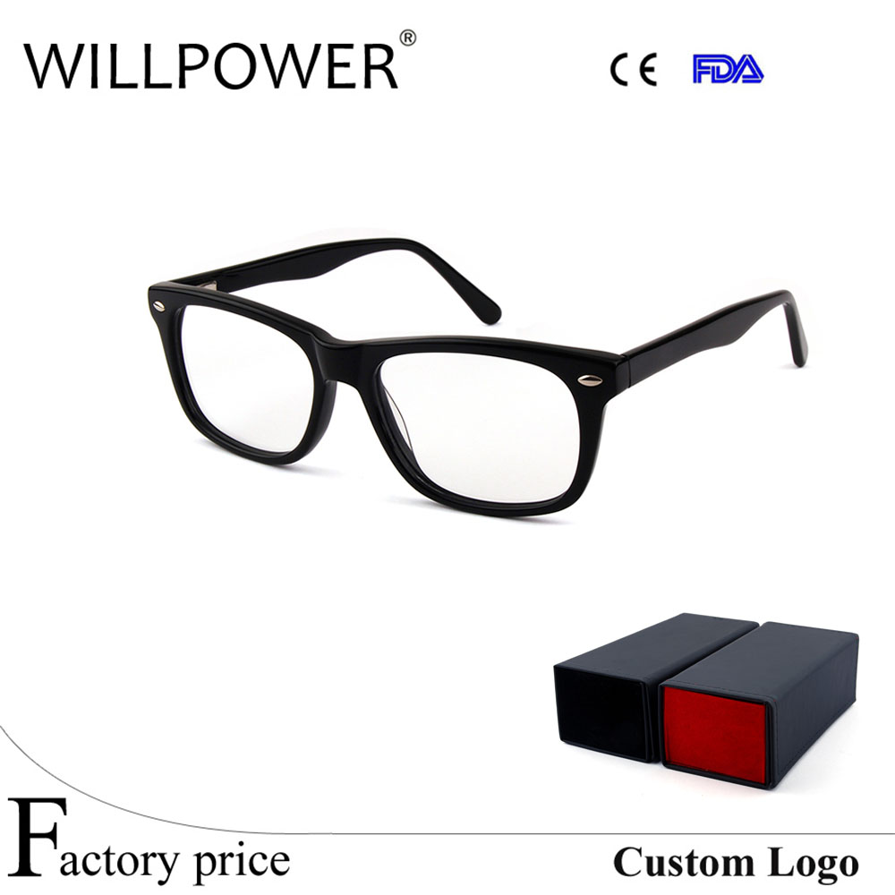Acetate Optical Black Frame eyeglasses spring hinge latest Prescription eyewear 2017