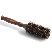 Top selling professional salon fine workmanship and durable round wooden boar bristle mixed nylon hair brush