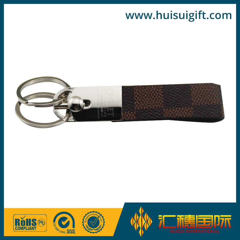 High quality custom design PU leather keychain key fob