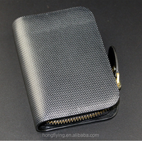 High quality black genuine leather zero wallet with card slots and customized logo