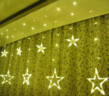 Battery Operated Christmas Star Curtain Lights 12 Stars 138 LEDs Curtain String Lights for Christmas, Holiday, Parties decor