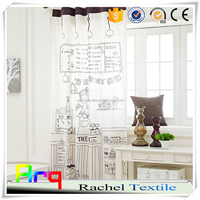 Modern style black and white polyester cotton blend creative printed kitchen curtain fabrics