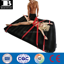 comfort flocked surface inflatable bondage bed air mattress durable folding portable queen size sex wedge airbed furniture