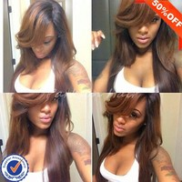Hot selling natural girls hair wig two tone ombre wig