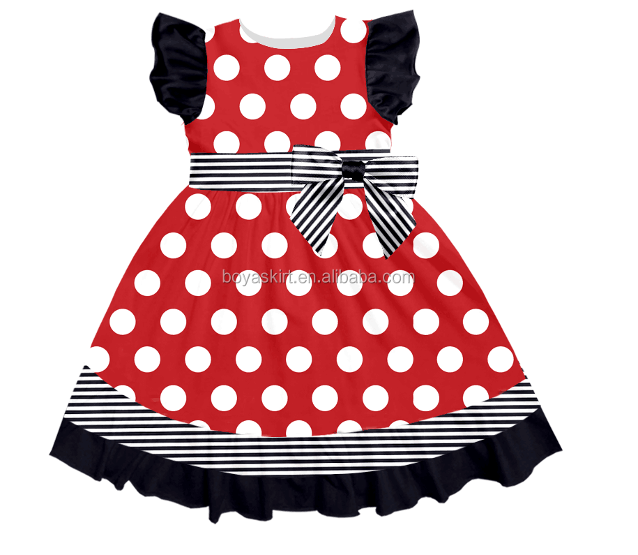 Wholesale children's boutique clothing polka dot sleeveless belted summer short evening baby dress modern for 0-16 years old