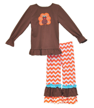 kids thanksgiving day turkey clothes with ruffle chervon wholesale boutique clothes