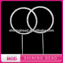 Popular shiny double rings wedding cake topper