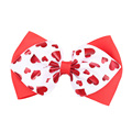 Popular 4 Inch Double Print Hearts Hair Bows For Valentine Day