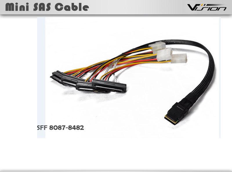 "20/"" Mini SAS 36-Pin SFF-8087 Male to SFF-8482 29-Pin Female 4-Pin Power Cable"