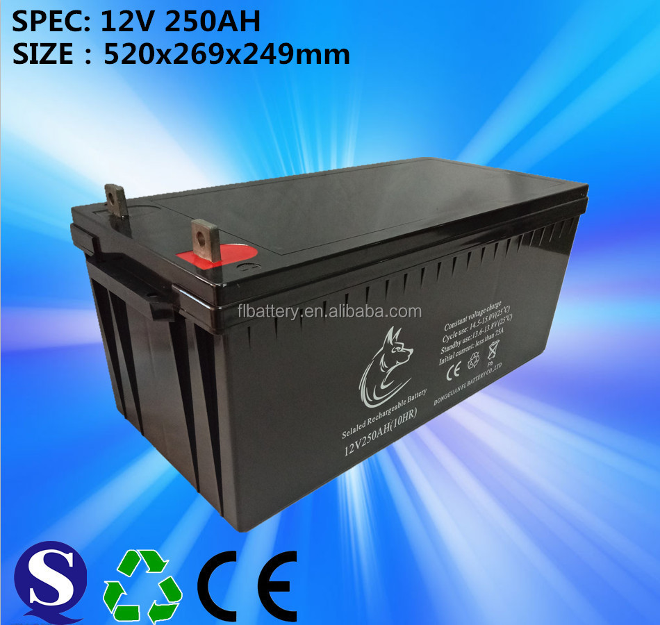 Front terminal battery. 12V/250Ah for mobile based station/UPS/EPS/photovoltaic system/power cabinet