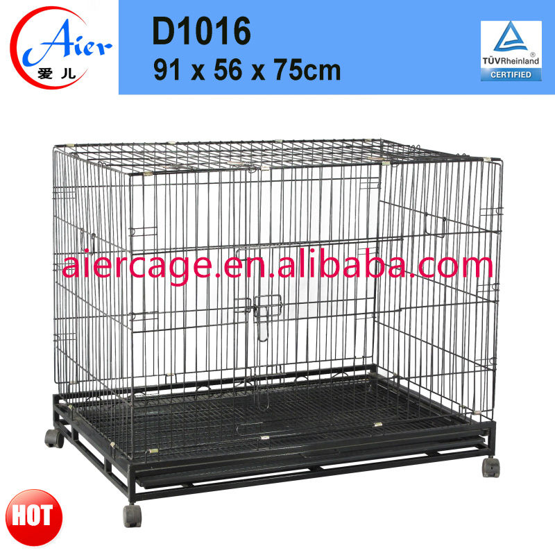 large metal folding dog crate with wheels