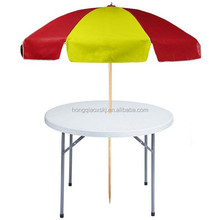 Outdoor used modern plastic foldable small round table with umbrella
