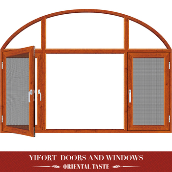 arch aluminium casement windows with mosquito net frame design