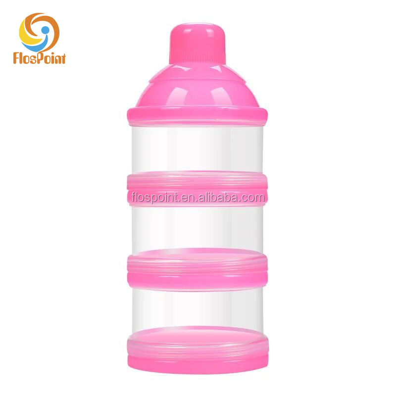 Plastic Portable PINK PP Infant Feeding Baby Milk Powder Container with 3 Grid Box