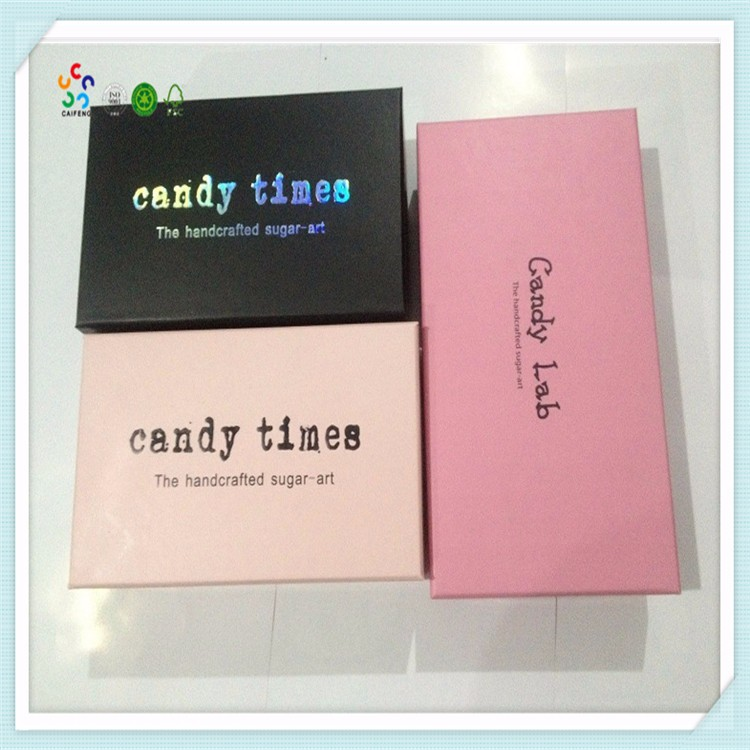 wholesale custom logo with black foam insert christmas candy box/ wedding gift candy box