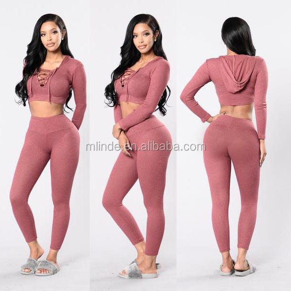 Bulk Hot Sale 2018 Sweat Suits Women Lace up Front V Neck Cropped Top Hoodie And Slim Skin Legging Pants Hot Sexy Pants Suit