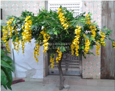 real touch artificial yellow flower tree, yellow decorative wisteria trees