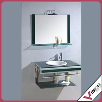glass top with ceramic bowl/glass bowl sinks/coloured tempered glass bathroom sink