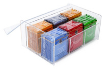 Customized acrylic clear tea bag storage box with lid acrylic tea bag holder tea bag organizer for 6 compact