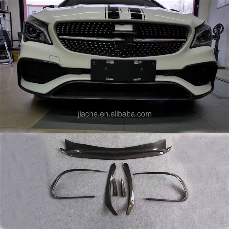 For <strong>W117</strong> CLA Class Carbon Fiber Front Lip Spoiler Flap Canards for Benz CLA45 AMG 2016-2018 Car Bumper Trim Covers