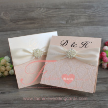 Elegant Cream Flocking Wedding Invitation Card with diamond