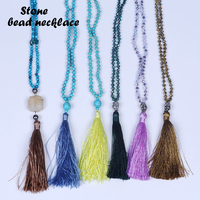 Fashion Jewelry Stone Beaded Long Necklace Hand Knotted Gemstone Designs Beaded Necklace