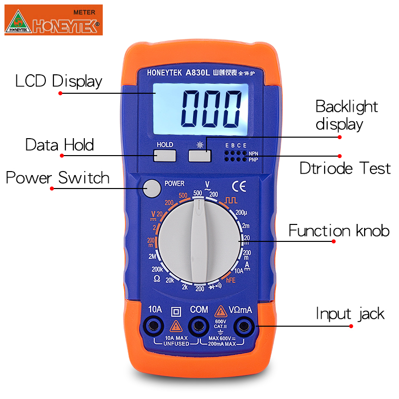 A830L Low Price LCD Digital Multimeter DC AC Voltage Diode Frequency tester Volt Tester Test Current
