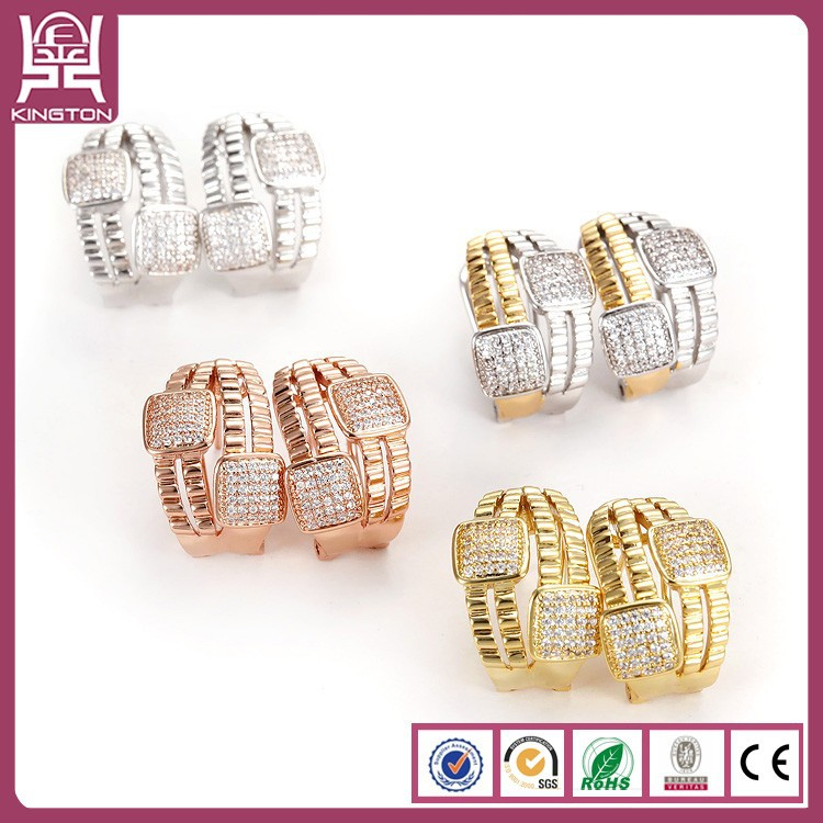 factory stainless steel crystal gold earrings and ring set jewelry set